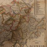 1833 Color Steel MAP of Switzerland Zurich Rhine River Bern Lucerne 26cm X 22cm