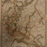 1833 Color Steel MAP of European Russia Black Sea St Petersburg 26cm X 22cm