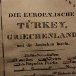 1833 Color Steel MAP of Turkey and Greece Serbia Macedonia Crete 26cm X 22cm