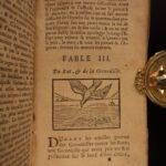 1687 Fables of Aesop Ancient Greek Folk Tales 100 Woodcut ART Engravings Baudoin