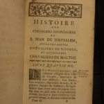 1737 History Knights Templar Hospitaller Crusades Malta Rhodes Ottoman 5v Vertot
