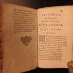 1669 1ed Jesuit Cardinal Mazarin Italian Richelieu 3v Louis XIV Political Wars
