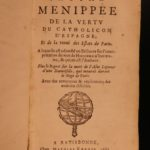 1664 1st ed Menippean Satire Catholic LEAGUE Spain France Religion Wars Elzevier