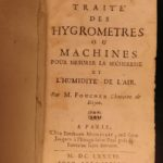 1686 1st ed Science of Hygrometry Foucher Hygrometers Meteorology Weather Boyle