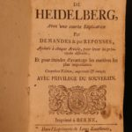 1753 Heidelberg Bible Catechism Reformed Huguenot CALVINISM French Swiss ed