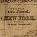 1870 Colton Railroad New York ENORMOUS Color Township MAP Canada Geography