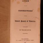 1825 TRUE 1st ed Rawle View of US Constitution Americana Politics Slavery LAW
