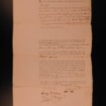 1793 Robert Morris SIGNED Land Sale Signer Declaration Independence Revolution