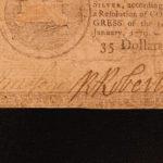 1779 Revolutionary War MONEY Early American Banknote $35 Dollars Finance