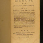 1797 1ed Manual of French Republic French Revolution & Constitution Illustrated