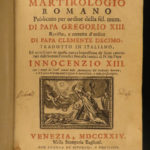 1724 Catholic Martyrology Saints Pope Gregory XIII Martyrs Italian Venice Vellum