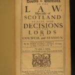 1698 1ed Scottish LAW Dirleton Doubts & Questions Scotland Political Nisbet