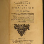 1673 GREEK Hierocles of Alexandria Golden Verses Pythagoras Philosophy Plutarch