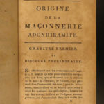 1787 Origins of Adonhiramite Freemasonry Masonic Rituals Guillemain Maçonnerie