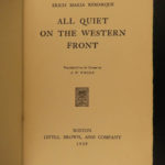 1929 1ed All Quiet on the Western Front Erich Remarque World War I banned book