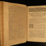 1664 Tertullian Early Church Father Pagan Heresy anti Jewish Pamelius Latin HUGE