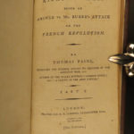 1792 Thomas Paine Rights of Man Edmund Burke French Revolution English 2in1