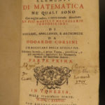 1738 1ed Mathematics Corsini Elements Geometry Archimedes Euclid Pisa Venice