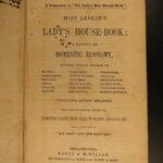 1854 Eliza Leslie Lady House Book Domestic Economics Laundry Cooking PROVENANCE