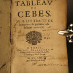 1653 Table of Cebes Stoic Philosophy Greek Latin Cebetis Tabula French Platonic