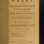 1772 William Shakespeare PLAYS Theatre Romeo & Juliet Hamlet Theobald 12v