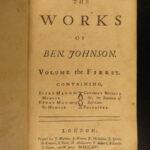 1716 Ben Johnson Playwright Poems Satire ALCHEMIST Illustrated 6v Theater Stage