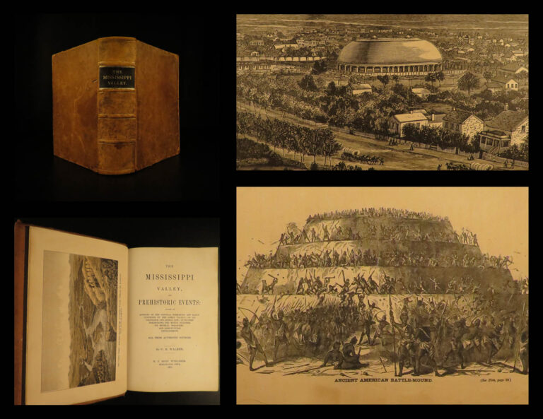 Image of 1880 Mississippi Valley Native American INDIANS Mound Builders Color Illustrated