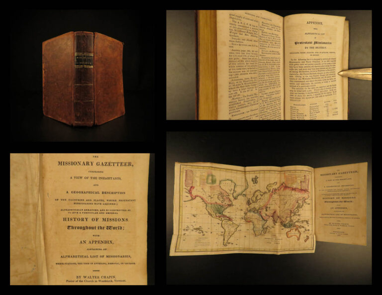 Image of 1825 1ed Missionary Gazetteer Chapin Slavery Indians Illustrated Color World MAP