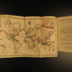 1825 1ed Missionary Gazetteer Chapin Slavery Indians Illustrated Color World MAP
