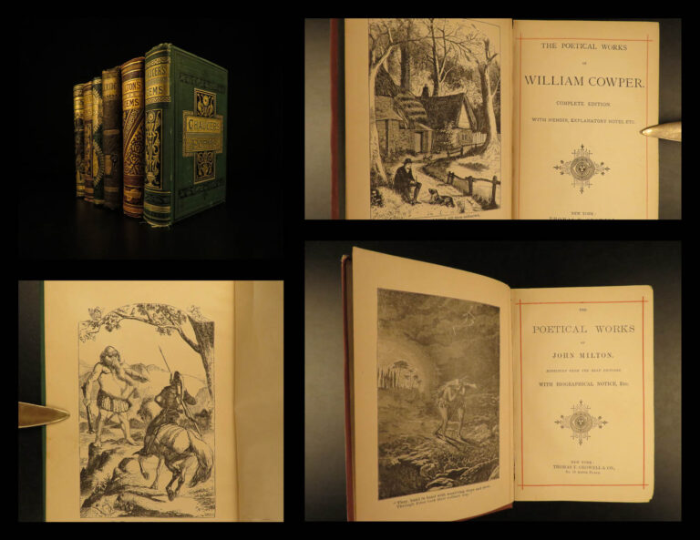 Image of 1880 BEAUTIFUL 6v Literature & English Poetry Chaucer Milton Cowper Moore Scott