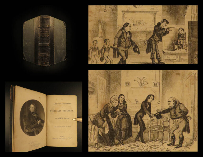 Image of 1839 1st/1st Charles Dickens Nicholas Nickleby Novel Social Satire RARE Illustrated