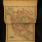 1864 Johnson Family ATLAS Geography Color MAPS Texas California New York HUGE