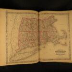 1864 Johnson Family ATLAS Geography Color MAPS Texas California New York HUGE