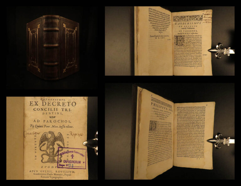Image of 1571 1ed Council of Trent Roman Catechism Catholic Church Lyon Rouille RARE