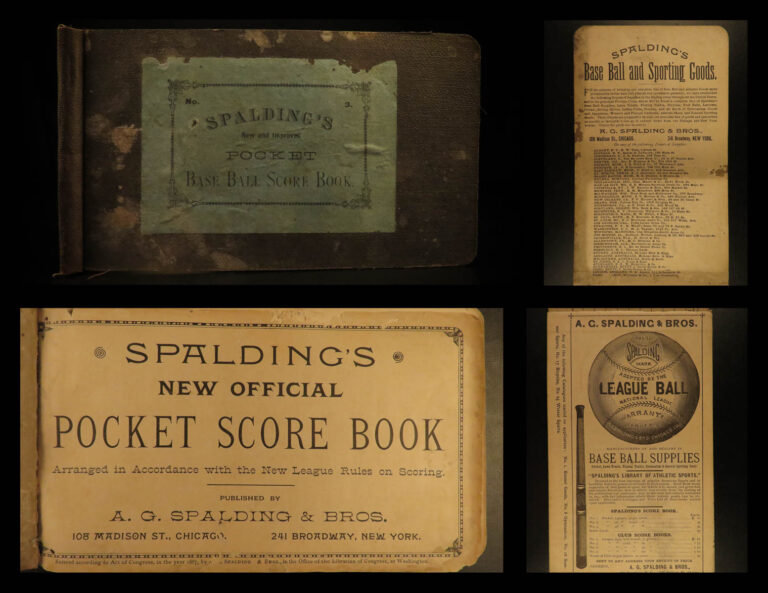 Image of 1887 Spalding Baseball Official Pocket Scorebook Game League Rules New York RARE