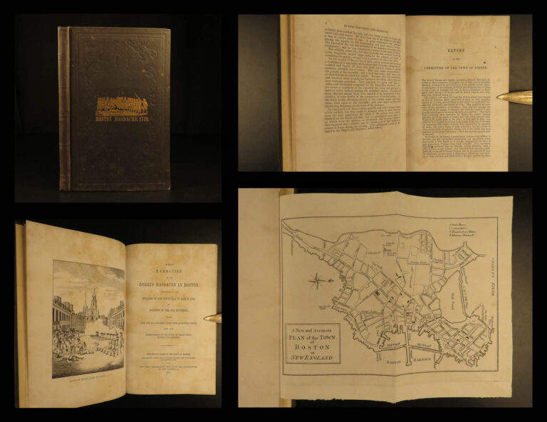 Image of 1849 Boston Massacre Samuel Adams MAP England Townshend Acts Soldier Americana