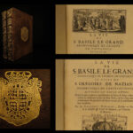 1674 Life of Saint Basil the Great & Saint Gregory Nazianzus 2v ARMORIAL BINDING