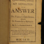 1663 Catholic Apology Pierce Reformation Theology Serenus Cressy No Novelties