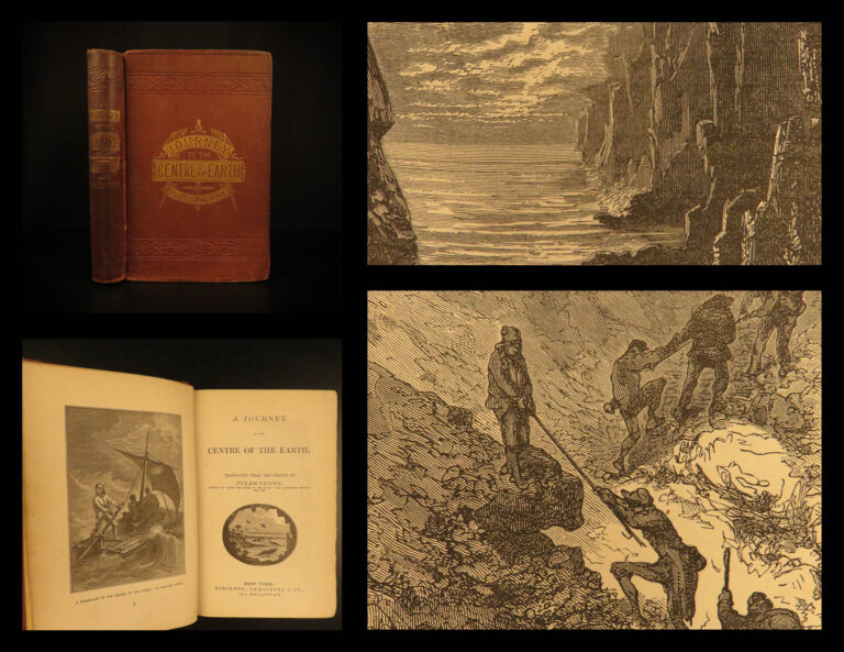 Image of 1874 1st ed Jules Verne Journey to Centre Earth Adventure Illustrated Scribner