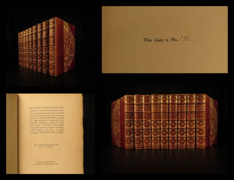 Image of 1884 Arabian Nights Thousand and One John Payne Ali Baba Aladdin 9v Ltd ed SET
