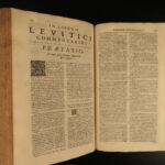1698 1ed Sylvius BIBLE & Pentateuch Commentary Genesis HUGE FOLIO Catholic