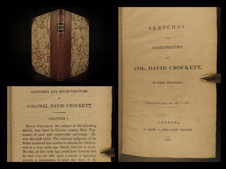 Image of 1834 RARE Davy Crockett Sketches Creek WAR Mexico TEXAS pre Battle of the ALAMO