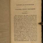 1834 RARE Davy Crockett Sketches Creek WAR Mexico TEXAS pre Battle of the ALAMO