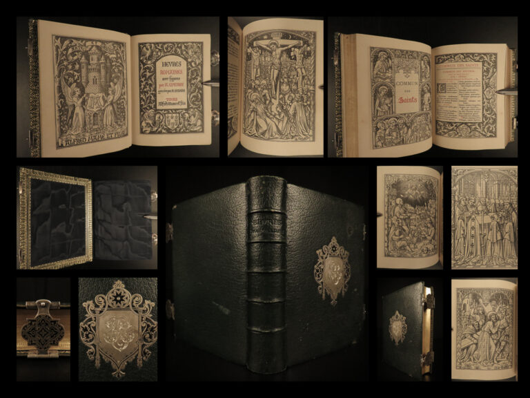 Image of 1884 EXQUISITE Catholic Book of Hours Illustrated Queyroy Art BINDING Breviary