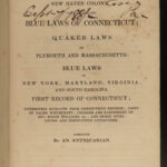 1838 SALEM Witch Trials Connecticut Blue Laws 1650 New Haven Quakers Witchcraft