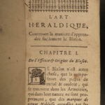 1672 1ed Art of HERALDRY Illustrated French Royal Crowns Coat of Arms Baron