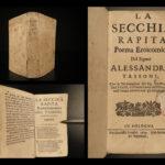 1670 1ed La Secchia Rapita Aless Tassoni Italian Heroic Poetry Catholic Church