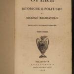 1818 Italian Machiavelli The PRINCE Florentine Medici Castruccio Art of War 4v