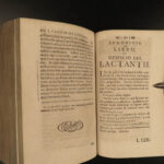 1715 Works of Lactantius Divine Institutes Apologetics Pagan FLAT EARTH Walch